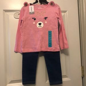 Little Girls 2 Piece Outfit Shirt & Jeans Carter's